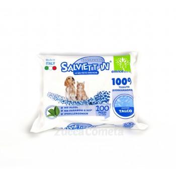 Salviette biodegradabili per animali domestici – profumate al Talco – Salviett_in